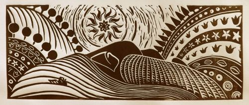 Laura Kozma: IN EARLY MORNING JOE THE FARMER… (linocut) …because we dont want to wake up early, but we must…and because i love hungarian folktales