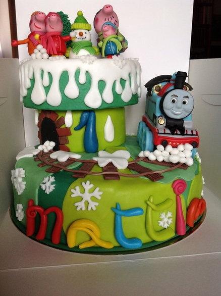 Peppa pig & Trenino Thomas (Thomas and Friends)  Cake by maria antonietta amatiello