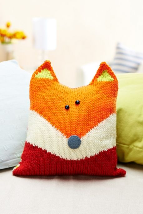 I love this little fox-shaped knit pillow; a great first intarsia project!