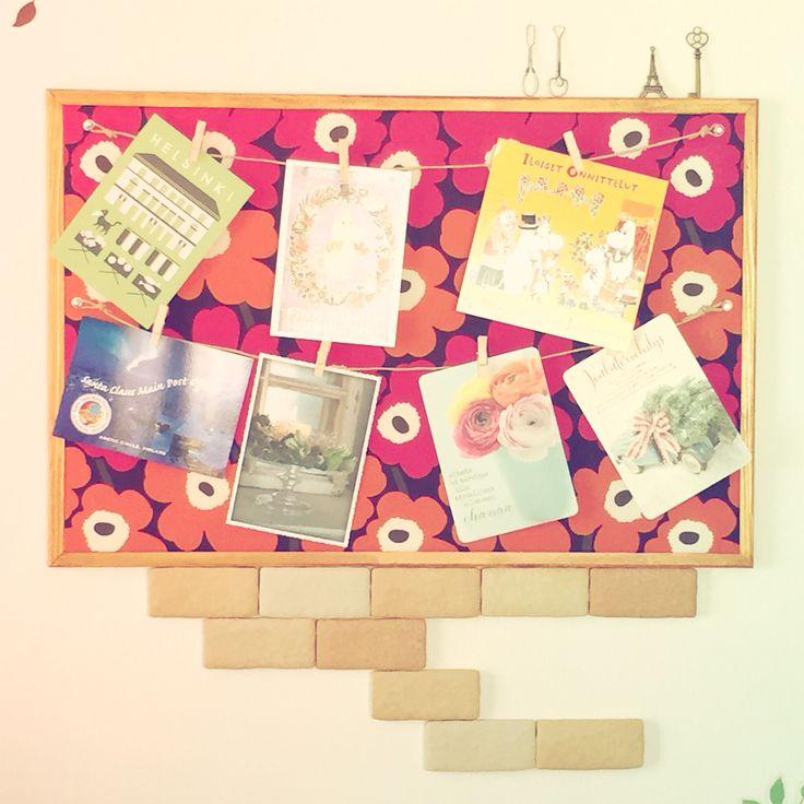 マリメッコの布でコルクボードをDIY♪フィンランドで買ったカードをon♡