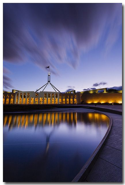 Sunset at Parliament House, Canberra, Australia  Australia's national capital, Canberra offers a great backdrop for conferences, incentives and events.  If you'd like your next program to be held in Australia, visit us at http://www.australiaconferencesandincentives.com/