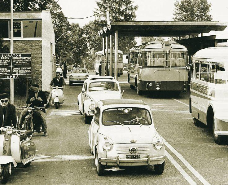 Leaving work at Euratom, Ispra. Italy in the1960s