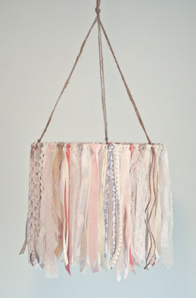 Baby Ribbon Mobile childs room hanging decor by TheGlitteredBarn.