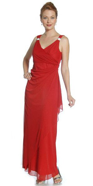 CLEARANCE - Red Semi Formal Dinner Dress V Neck Wrap Skirt Rhinestone Strap - Medium