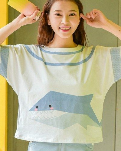 Blue and white t shirt shark letter batwing sleeves tops for girls