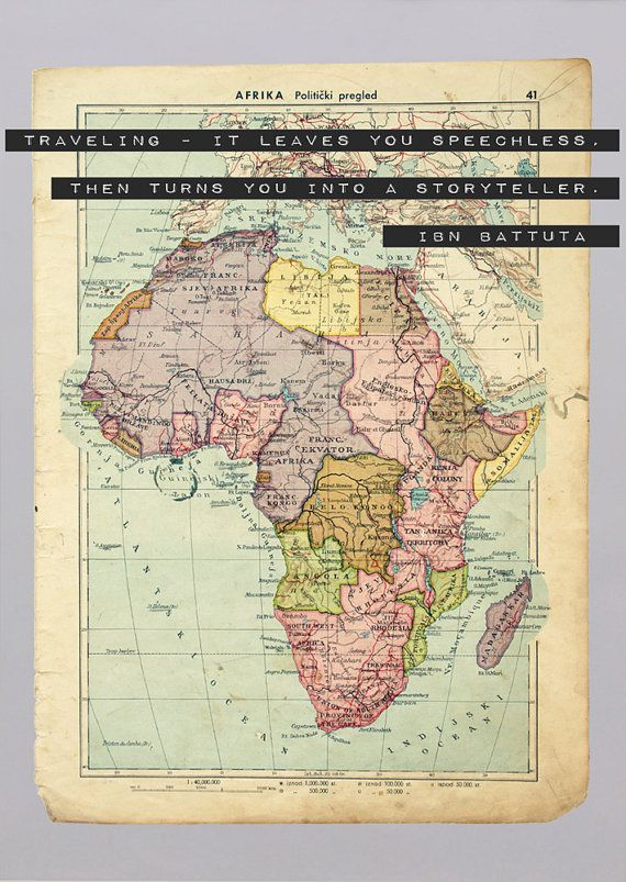 1934 Vintage Map of Africa with the Inspirational Travel ...