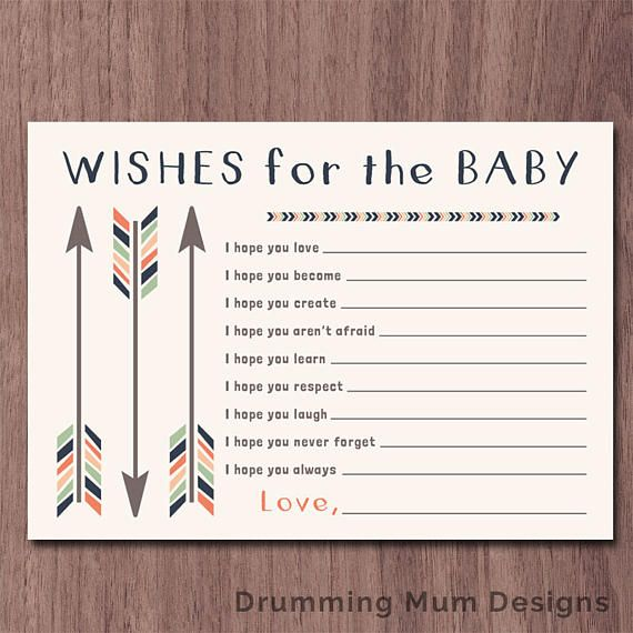 Tribal Wishes for Baby Baby Shower Game | Arrows Wishes for the Baby Baby shower activity | Printable Wishes for Baby | Baby shower printable Each wishes sheet size: 5 x 7 *** This listing is for an INSTANT DOWNLOAD PDF DIGITAL FILE. No physical prints will be sent.*** Check out the coordinating shower invitation here: https://www.etsy.com/listing/513328774/tribal-arrows-sip-and-see-invitation-boy (It can be for a sip and see, meet and greet, or baby shower) ****...