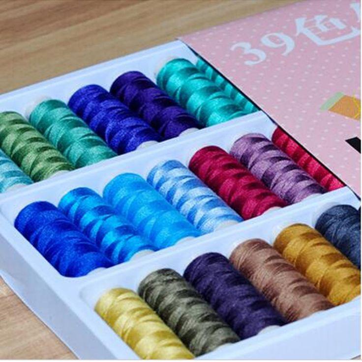 39 STKS 39 KLEUR ELKE STUKS 100% POLYSTER SEW DRAAD, huishoudelijke hoge kwaliteit mix kleuren naaigaren hoge kwaliteit fabriek prijs