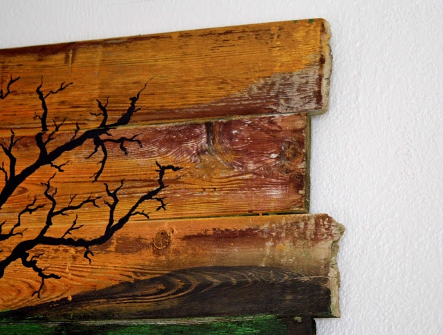 Easy Halloween mural with just scrap boards and a bit of paint.