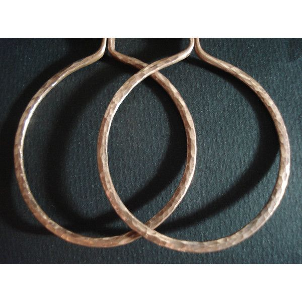 Large Hammered Copper Wire Hoops Earrings Modern Recycle Metalwork Copper Wire Earrings Unique Copper Wire Hoop Earrings (€20) found on Polyvore featuring women's fashion, jewelry and earrings