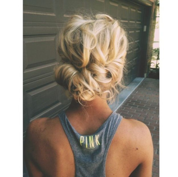 A naturally curly hair low do