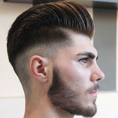 Mid Skin Fade + Pompadour + Beard