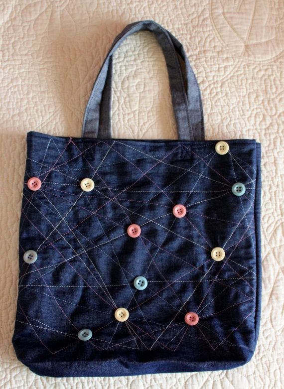 Handmade Jean TOTE bag with colored STITCHES  and by Annas7Closet, $30.00