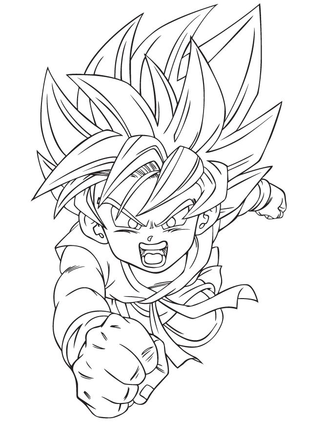 dragon ball z son goku shouted ready to attack - Dragon Ball Goku Coloring Pages