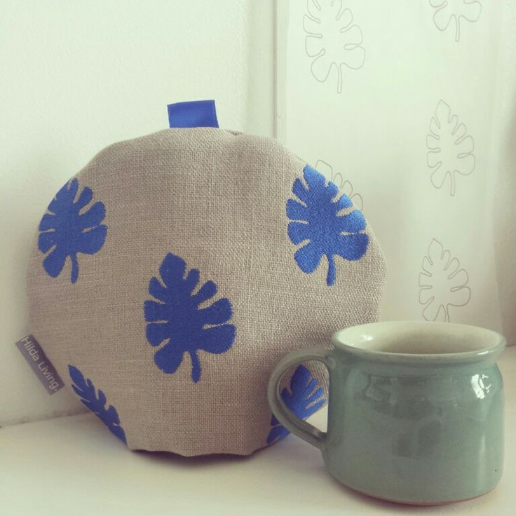 Tropical Leaves tea cosy - Cobalt Blue. http://www.hildaliving.com