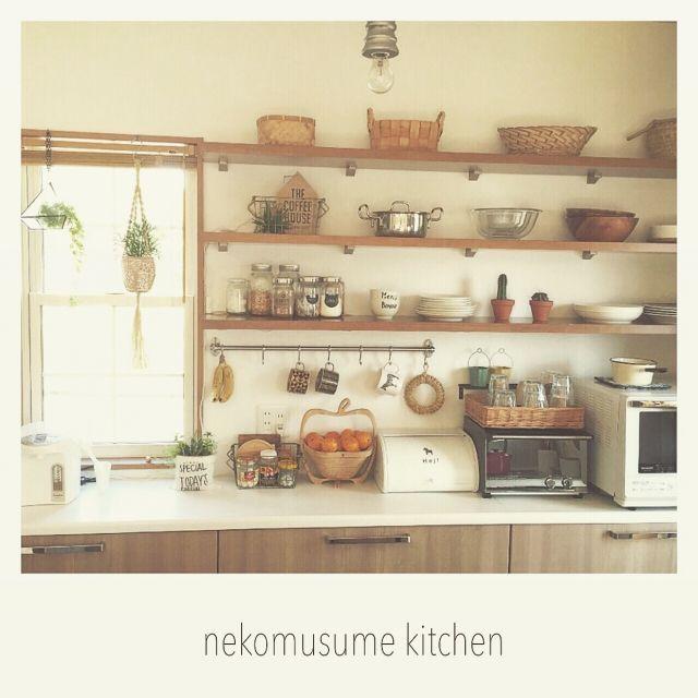 nekomusumeさんの、見せる収納,ニトリ食器,キッチン背面棚,塩系インテリアに憧れる,断捨離中,子どもと暮らす,サボテン,藁の鍋敷き,メイソンジャー,キッチン背面,かご好き,プラントハンガー作りました,Kitchen,のお部屋写真