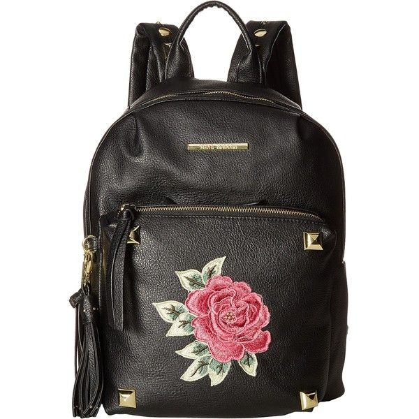 Steve Madden BRose Backpack (Black) Backpack Bags featuring polyvore, women's fashion, bags, backpacks, black, zip bag, steve madden, steve madden bags, studded backpack and strap backpack