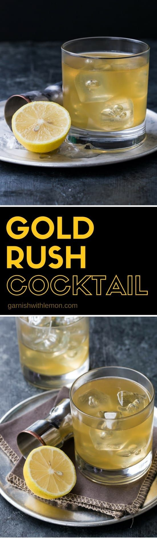 The Gold Rush Cocktail is our favorite fall sipper, filled with belly-warming bourbon, ginger liqueur and fresh lemon juice.  #bourbon #cocktails #ginger #lemon #drinks #goldrush #easyentertaining#cocktail