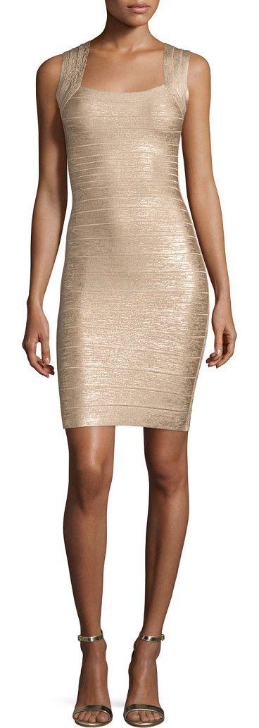 "Square-Neck Metallic Tank Dress by Herve Leger. Herve Leger metallic signature knit bandage dress. Approx. 33""L shoulder to hem. Square neckline; V'd back. Sleeveless; moderate shoulder coverage. Fitted silhouette. Bands graduate in width for hourglass effect. Straight hem. Hidden bou... #herveleger #dresses"