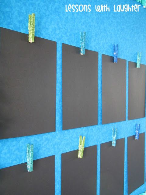 Displaying student work - glue tacks onto the back of glittered clothespins and VOILA!