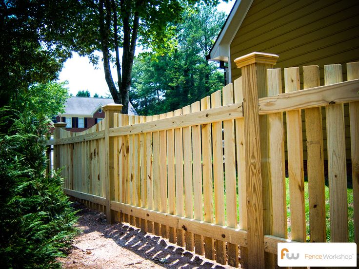 Scalloped picket fence with 4x4 posts. #fencing #picket