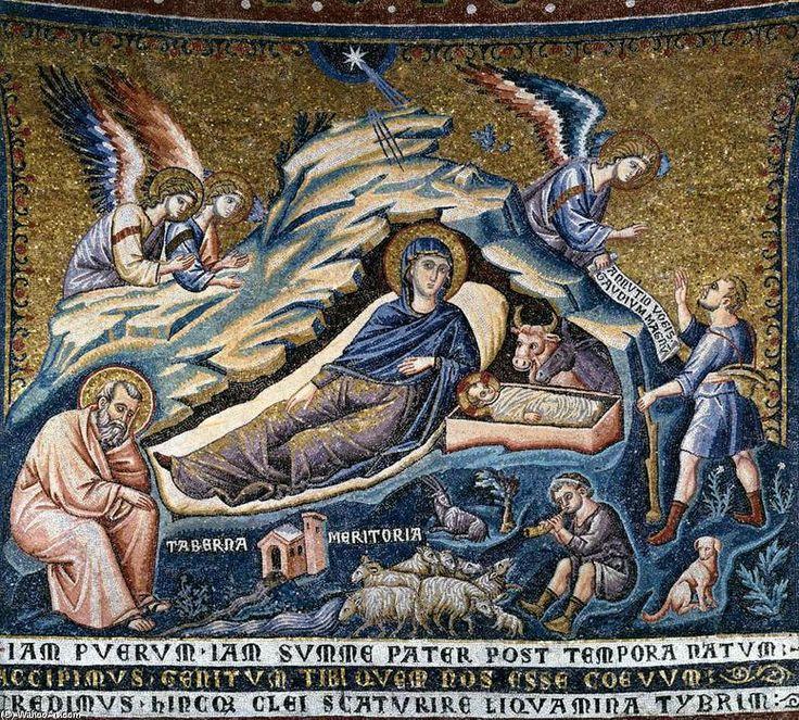 Pietro Cavallini, scena con Natività di Cristo (1296 ca., mosaico, Roma S. Maria in Trastevere).