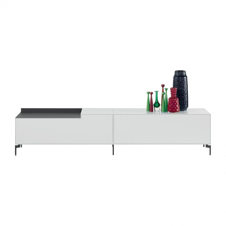 Piure - Nex Pur Box Lowboard 240x50.5x48cm - weiß/schwarz/Alu-Auflage super-matt schwarz/Auflage links/6 Füße/240x50.5x48cm