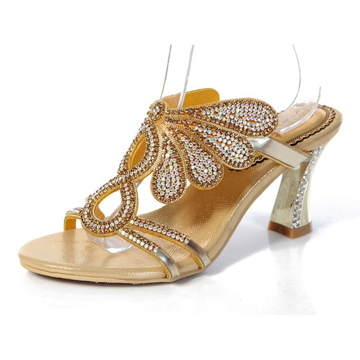 2017 Diamond Sexy High Heeled Slippers Ladies Crystal Sandals For Sale Gold Peep  Toe Shoes Wedding
