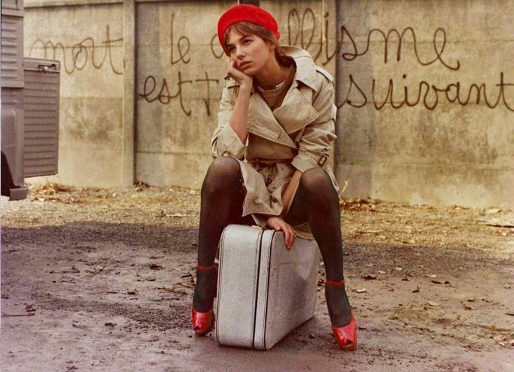 Jane Birkin --  The young and beautiful Jane Birkin was wearing pre-spandex sheer black pantyhose with... read more on Tights.fun!