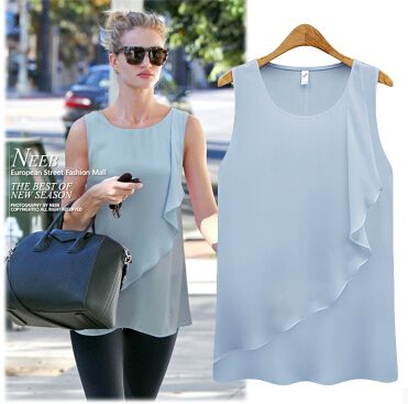 $8.49// Ruffled chiffon tank// Multiple colors// S- 6XL size range// Delivery: 2-6 weeks