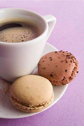 coffee and French macarons