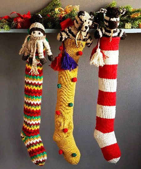 Knit White And Red Christmas Stocking - Long Red Christmas Stocking #3D #Christmas #stockings www.loveitsomuch.com