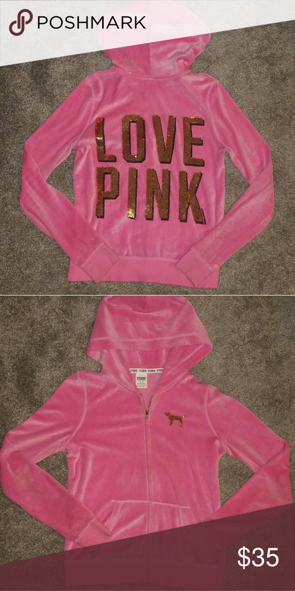 VS Pink Bling zip up hoodie Super soft hot pink zip up hoodie with gold sequins on front and back.  All sequins in tact & jacket is in perfect condition except the hood string is missing. PINK Victoria's Secret Tops Sweatshirts & Hoodies