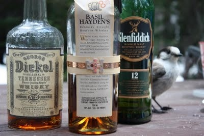 Whiskey Bottles and Wildlife (Dickel, Glenfiddich, Basil Hayden's) - Yes that bird is real!