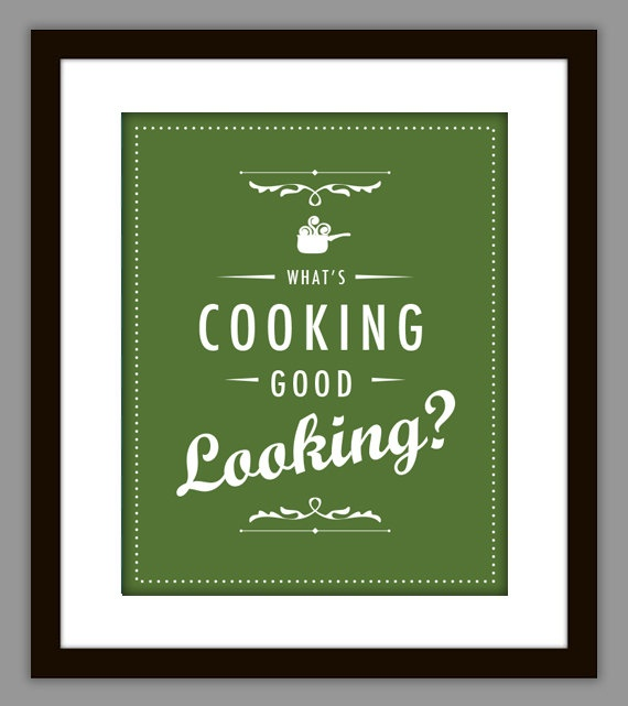Typographic Kitchen Quote Poster in Green on Etsy, $8.00
