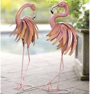 "Garden Decor Statues Flamingo 2 Piece Set Metal 28.5"" High Lawn Yard Ornament"