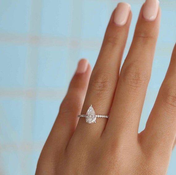 1 30 Carat Diamond Engagement Ring 14k White Gold Diamond Etsy 14k White Gold Diamond Ring Elegant Engagement Rings Rose Gold Engagement Ring