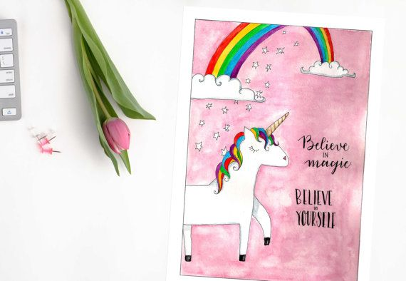 Illustrated Believe in Magic Print Unicorn by ElettrasHappyLetters