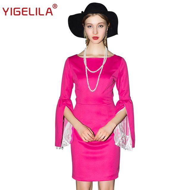 YIGELILA 6888 Последние 2016 Новая Мода Элегантный Красная Роза Кружева Рукавом Платье