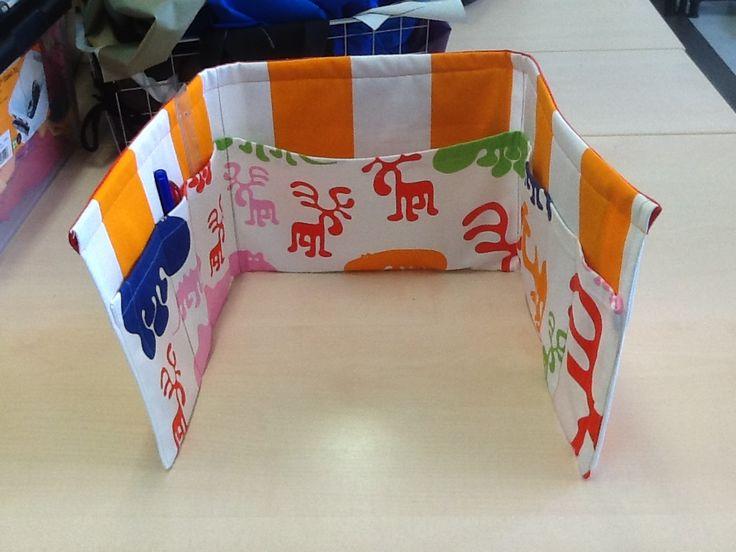 Fabric pencil case. Eero Aarnio Zoo fabric from Eurokangas. Made by Dilan, Tiirismaa School.