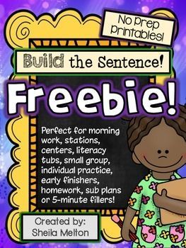 Build the Sentence.    Build the Sentence FREEBIE! Directions: Students cut the words out at the bottom of the page, BuildTheSentence and glue words in correct order, practice writing the sight word, draw a picture about the sentence, write the sentence nice and neat.
