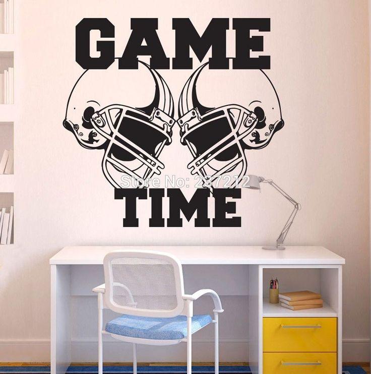 Американский Футбол Шлемы Время Игры Спорт Наклейки На Стены Стикер Винила Арт Декор/Бесплатная доставка