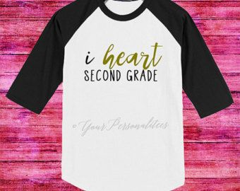 "Do you love the grade you teach? Show it proud with the i heart (grade) teacher tee with gold glitter ""heart"" text, any grade level t-shirt can be customized."