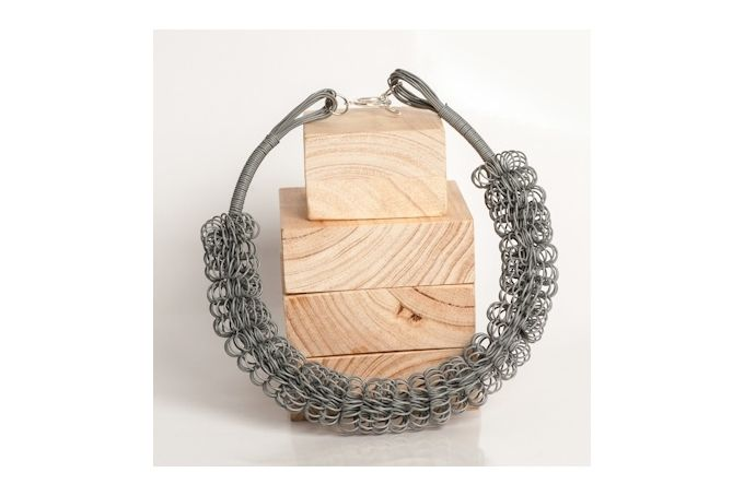 Ring Ring Bling Spiral Necklace Grey by Blossom Handmade for sale on hellopretty.co.za - R240.00 / $22.50