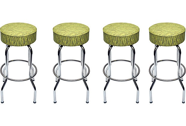 Midcentury Green Bar Stools, Set of 4 on OneKingsLane.com. These are just cool.