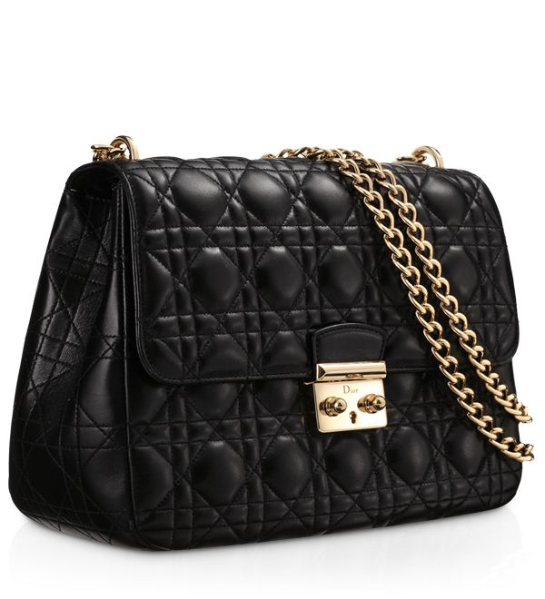 "MISS DIOR - Black leather ""Miss Dior"" bag with shoulder or cross-body strap."