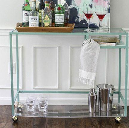 Turn a Vittsjo laptop table into a cute bar cart. | 15 Totally Ingenious IKEA Hacks
