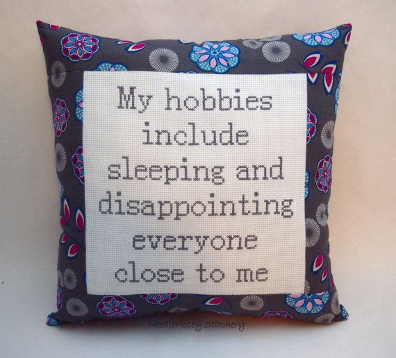 Funny Cross Stitch Pillow, Gray Blue And Purple Pillow, Hobbies Quote