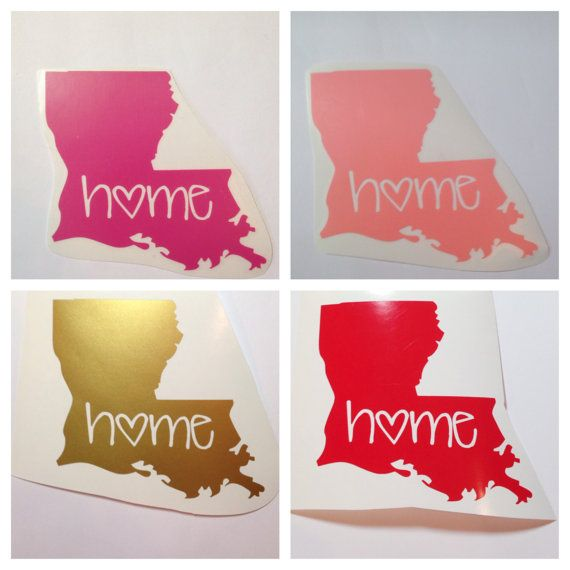 Louisiana or any other state Home State Love Decal - Cute Custom Decal for Car or Tablet Ipad -State Pride - State Love - 4 in Sticker on Etsy, $7.00 Love!!