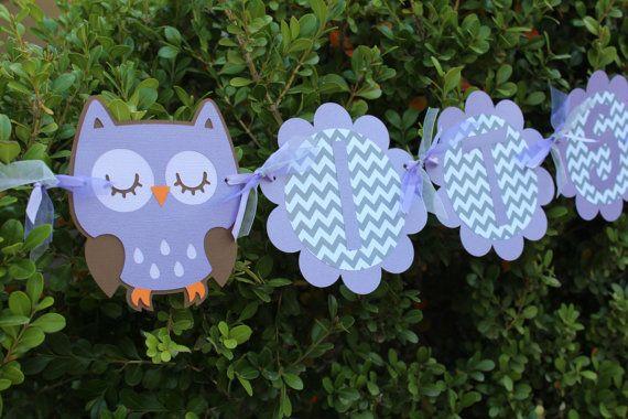 Lavender amd Grey Chevron Owl Banner-It's A Girl, Owl Baby Shower, Purple Owl Banner. Purple Owl, Its A Girl Banner